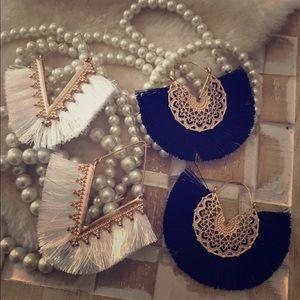 •2 Pair• Boho Tassel Fan Earrings